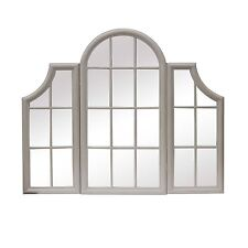 Large Windowpane Triple Window Frame Mirror Distressed Stone Grey Finish