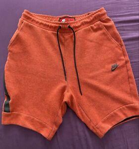 Men's NIKE Sportswear Tech Fleece Orange Athletic Sweat Shorts Size Medium