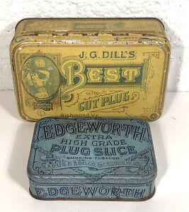 2 Vintage Cut Plug Tin Tobacco Lot J. G Dills Best Edgeworth Richmond Va