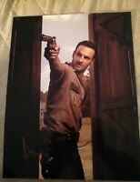 ANDREW LINCOLN SIGNED 8X10 PHOTO THE WALKING DEAD GUN W/COA+PROOF RARE WOW