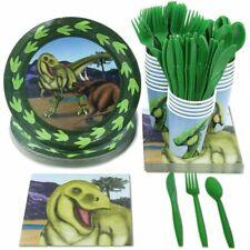 24 Set Dinosaur Birthday Party Supplies Dino Plates Knives Spoon Fork Napkin Cup