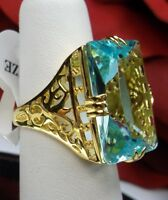 30ct Big *Blue Aquamarine* Sterling Silver Deco Filigree Ring {Made To Order}