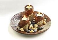 Kerzenhalter Holz 3 Teelichthalter Dekoschale Kerze Tisch Dekoration Rund Trend