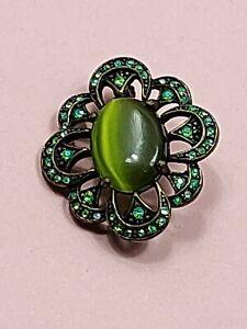 Vintage Green Stone Brooch