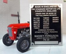 Massey Ferguson Standard FE35 35 Tractor Commission Plate 15 Patent Numbers 1958