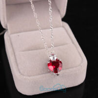 Heart Crystal Red Pendant Necklace Women Lover Jewelry Valentine's Day Gift