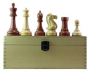 "Verona Staunton 4"" Chess Pieces in Golden Rose & Box Wood with Storage Box"