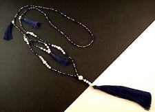 1 Long Dark Blue Tassel White Howlite Gemstone Beaded Necklace # 1176