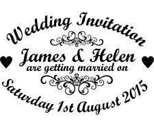Personalised Vintage Wedding Invitation Rubber Stamp + Black Ink Pad