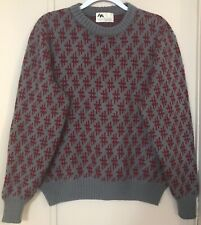 Vintage Hush Puppies Sweater Mens Medium Retro Hippie Gray Knit Red Print
