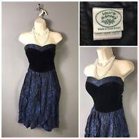 Laura Ashley Navy Black Strapless Vintage Dress UK 12 EUR 38 US 10