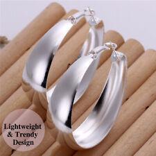 925 Sterling Silver Plated Unique Trendy Statement Earring Pierced Hoop Earrings