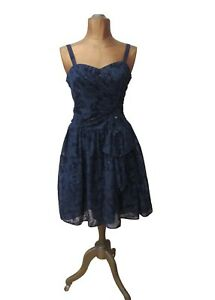 Vintage 80s Dress Party Prom Cocktail Retro Sweetheart Rockabilly UK 10
