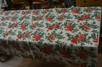 ANCIENNE NAPPE TISSU DE NOEL RECTANGLE 180 X 130 CM
