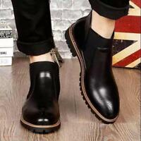 Men's casual Carved Ankle Boots Formal Dress Business Oxfords Slip On Shoes