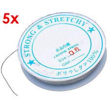 5 Roll Elastic Rubber Beading Cord Thread String 0.6mm