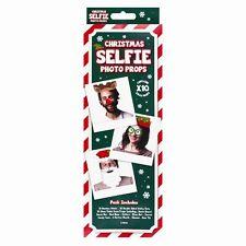 CHRISTMAS SELFIE STICK PROPS Photo Booth Kit Secret Santa Reindeer Party Antler