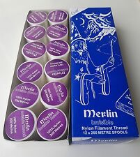 MERLIN INVISIBLE MAGIC CLEAR SEWING THREAD NYLON 200M SPOOL-BOX OF 12 ONLY £8.99