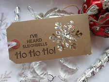10 Christmas Sleighbells Snowflake Gift Tags Handmade Winter Wedding