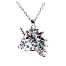 Unicorn Horn Pendant Silver Chain Chunky Choker Crystal Necklace Steampunk