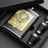 8oz Hip Flasks Set Stainless Steel Screw Cap Pocket Alcohol Liquor Whiskey Gift