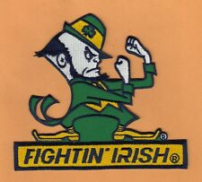 NOTRE DAME FIGHTIN IRISH LARGE 6 3/4 in JERSEY JACKET PATCH IRON ON UNSOLD STOCK