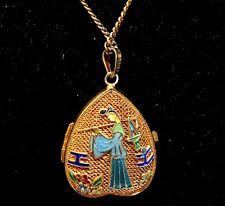Vintage Chinese Solid Silver Heart Filigree Locket PendantNecklace