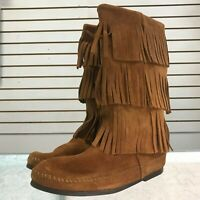 Minnetonka 3 Layer Fringe Brown Suede Moccasin Boots Size 8 Style