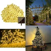 300 LED String Fairy Light Solar 72ft Outdoor Party Garden Tree Deco Warm White