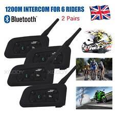 4X V6 Motorcycle Bluetooth Helmet Intercom Interphone Headsets 1.2KM 6 Riders UK