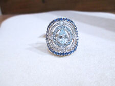 ANELLO acquamarina zaffiri e diamanti brillanti F vs oro bianco 18kt - 30%