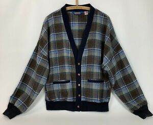 Vintage 1950s era wool Pendleton plaid button up mens size mmedium to llarge 15 12 neck browngreenblue FREE SHIPPING