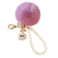 Chic Genuine Rabbit Fur Pearl Ball PomPom Car Key chain Handbag Charm Key Ring
