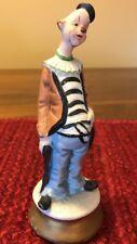 Vintage Porcelain Hand Painted Clown Derby Hat And Brown Coat
