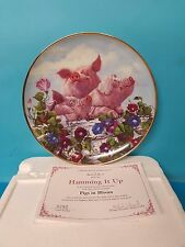 Hamming It Up Pigs in Bloom Danbury Mint Collector Plate Joan Wright