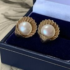 Vintage 9ct Gold Cultured Pearl Earrings Shell Clam Ear Studs large 8.2mm Pearls