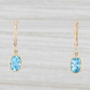 New 1.68ctw Blue Topaz Drop Earrings 14k Yellow Gold December Birthstone