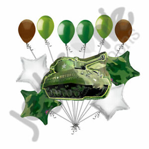 11 pc Military Tank Camo Balloon Bouquet Army Birthday Welcome Home Camouflage