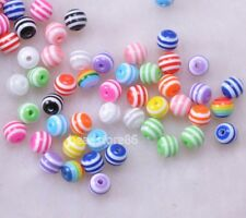 100pcs multicolor rainbow Stripe beads round bead acrylic scattered Beads 6MM