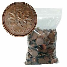BULK LOT OF 100 MIXED CANADIAN 1 CENT (CANADA, ONE PENNY) COINS 1953-2012