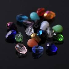50pcs 7X5mm Teardrop Faceted Crystal Glass Loose Spacer Beads Jewelry Findings