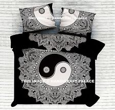Black & White Yin Yang Bed Cover Indian Mandala Tapestry Hippie Bed Sheet Throw