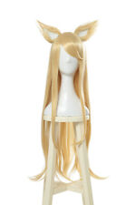 LOL KDA Ahri Cosplay Wig Long Straight Golden Blonde Hair Wig With Ears