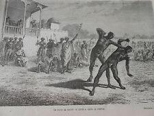 Engraving 1874 - The Nacki Ka Kousti or fight to shots of claws
