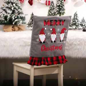 Christmas Dining Chair Covers Santa Hat Party Xmas Chair Back Table Decoratio P3