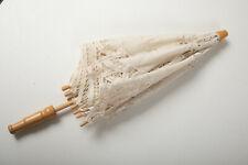 "White Lace Needlepoint Umbrella Parasol (P2R) 17"" & 23"" Diameter Wood Handle"