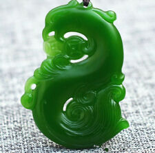 New Green Jade Necklace Phoenix bird Pendant Rope Lucky Amulet Jewelry carving