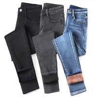 Womens High Waist Thermal Jeans Fleece Lined Denim Pant StretchyTrousersSkinPLUS