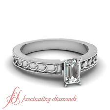 .50 Ct Emerald Cut Solitaire Engraved Rings For Women Certified Engagement Rings