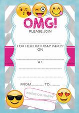 OMG Emoji Girls Kids Childrens Birthday Invites x 20 A5 +envs - Write your own